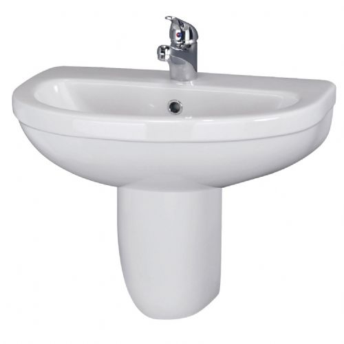 Ivo 550mm Basin 1TH & Semi Pedestal CIV004